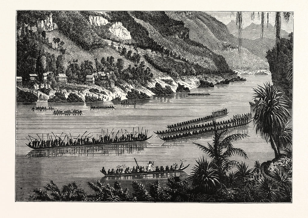Detail of Barges on the Mekong River, Cambodia. by Anonymous