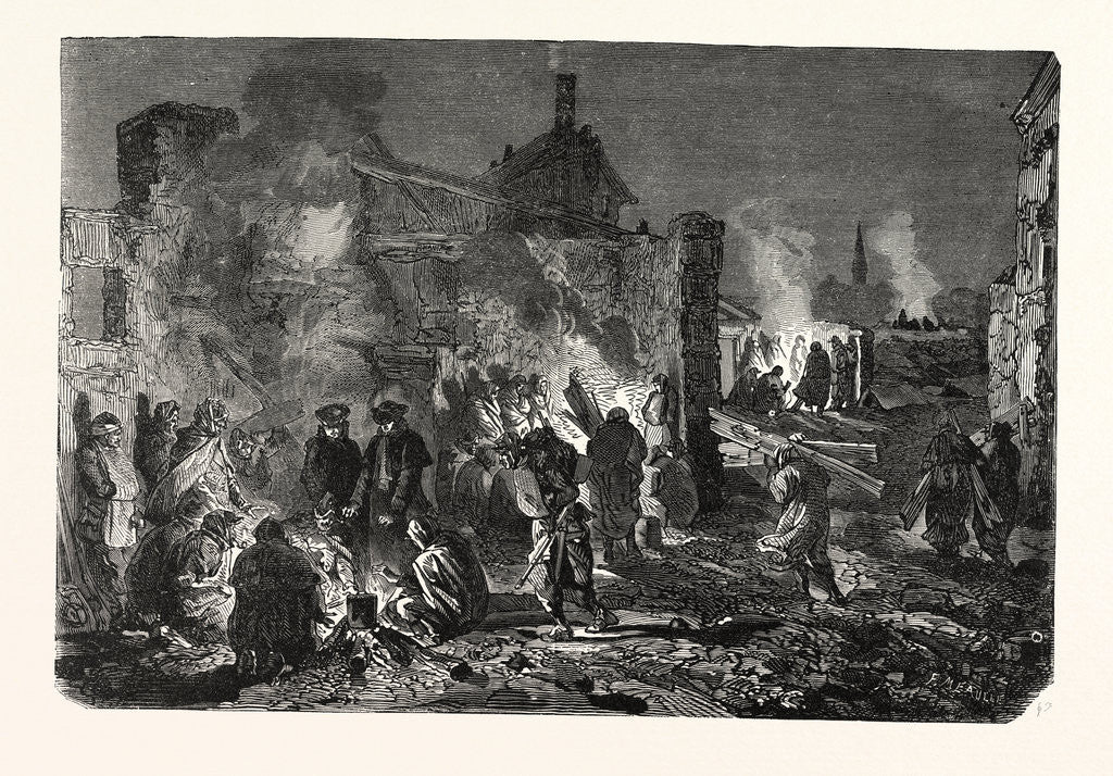 Detail of Bivouac of French Troops on the Night of 1 to 2 December at Champigny, France by Anonymous