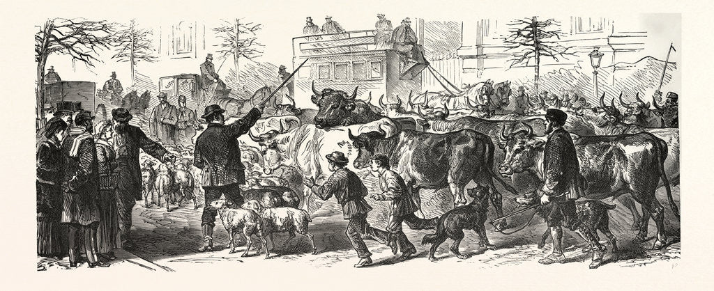 Detail of Flee of the Country People with Their Herds to Paris, France by Anonymous