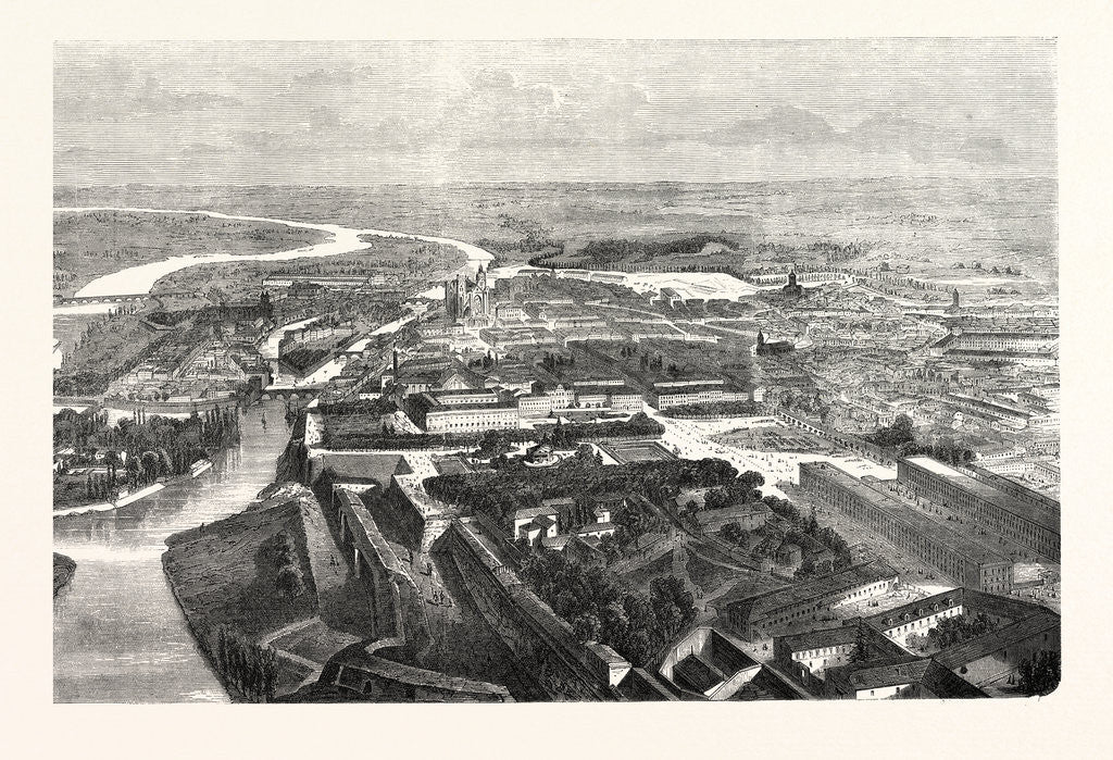 Detail of Bird's Eye View of the Fortress of Metz, Engraving 1870 by Anonymous