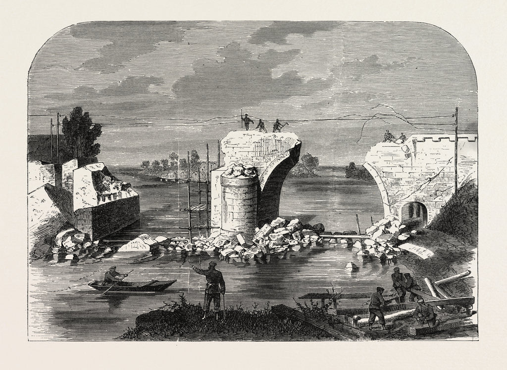Detail of Bridge Over the Marne in Trilport Near Meaux, Destroyed by the French 1870 by Anonymous
