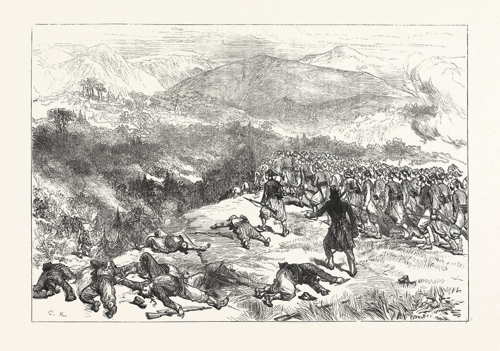 Detail of Battle of Kniejesevacz: The First Brigade of Infantry, Under Hafiz Pasha, Attacking the Serbians in a Wood by Anonymous