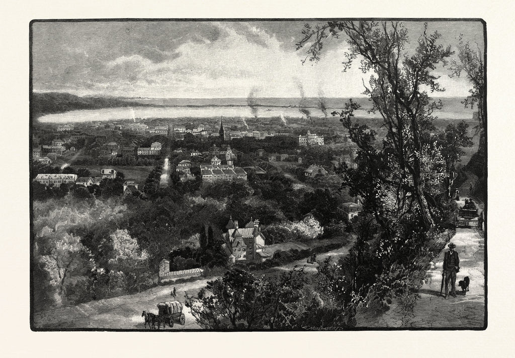 Detail of Hamilton and Burlington Bay, from the Mountain, Canada by Anonymous