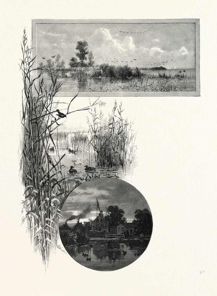 Detail of Duck Shooting, Long Point (Top); Club House (Bottom), Canada by Anonymous