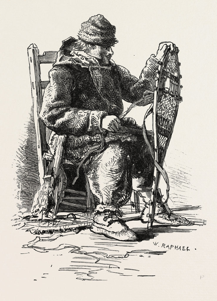 Detail of French Canadian Life, Habitant and Snow-Shoes, Canada by Anonymous