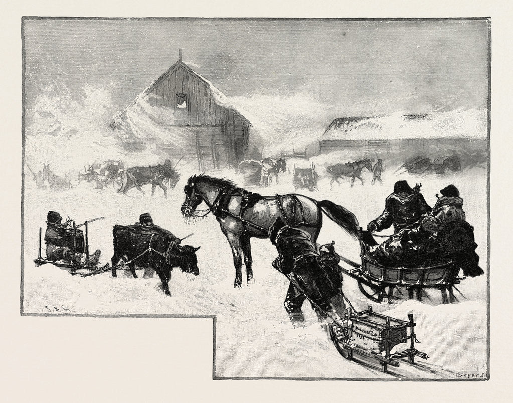 Detail of Arrival of Supply Train at Lumber Depot, Lumbering, Canada by Anonymous