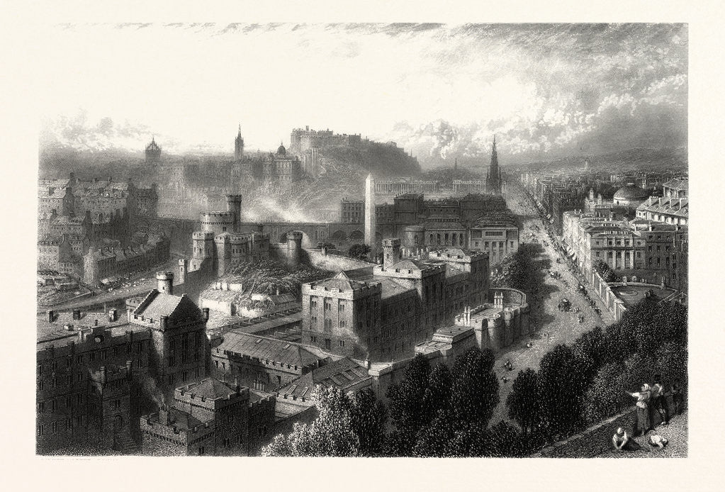 Detail of Edinburgh from Calton Hill, Scotland by Anonymous