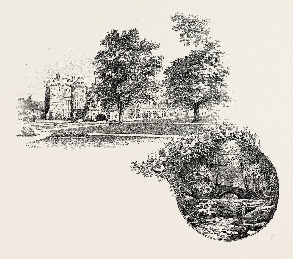 Detail of Featherstone Castle and Featherstone Bridge by Anonymous