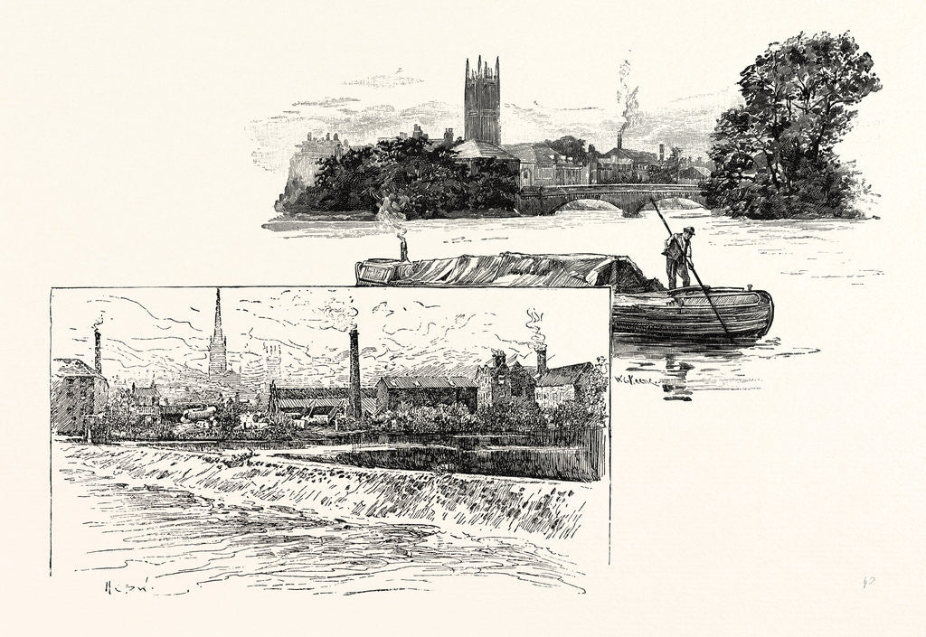 Detail of Derby, from St. Mary's Bridge and from the Long Bridge by Anonymous