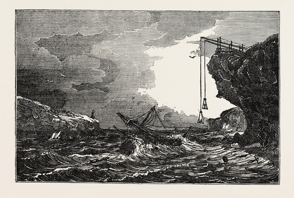 Detail of Communication with a Ship in Distress by Means of the Cliff Waggon by Anonymous