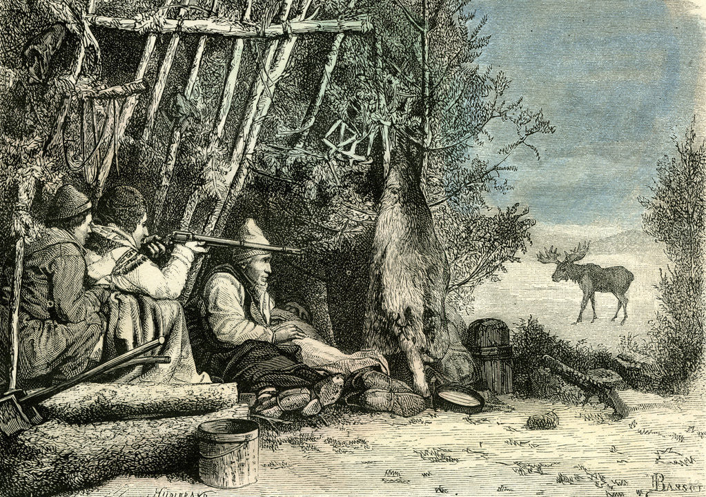 Detail of Caribou Hunt Canada 19th Century by Anonymous