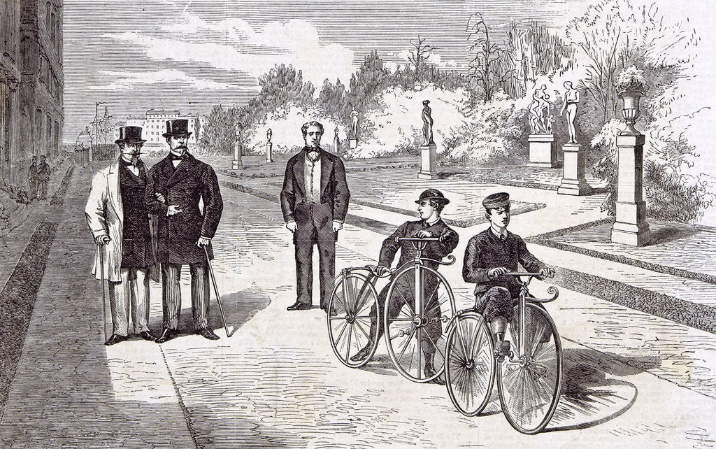 Detail of Bicycles in the Garden of the Tuileries Paris 1869 by Anonymous