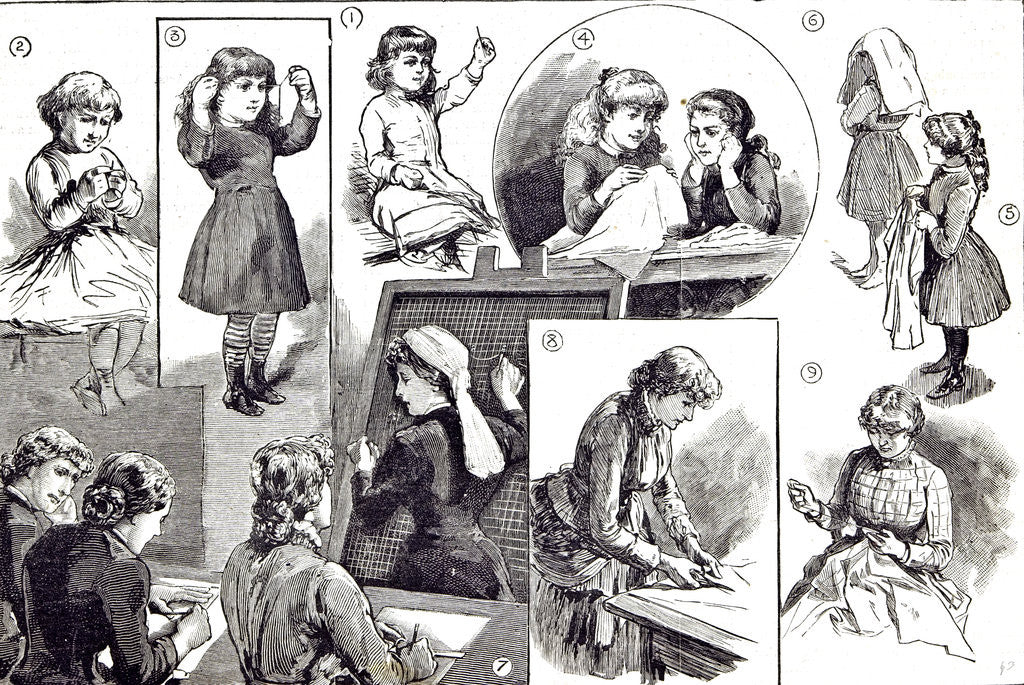 Detail of Child Education Teaching Needlework in 1883 by Anonymous