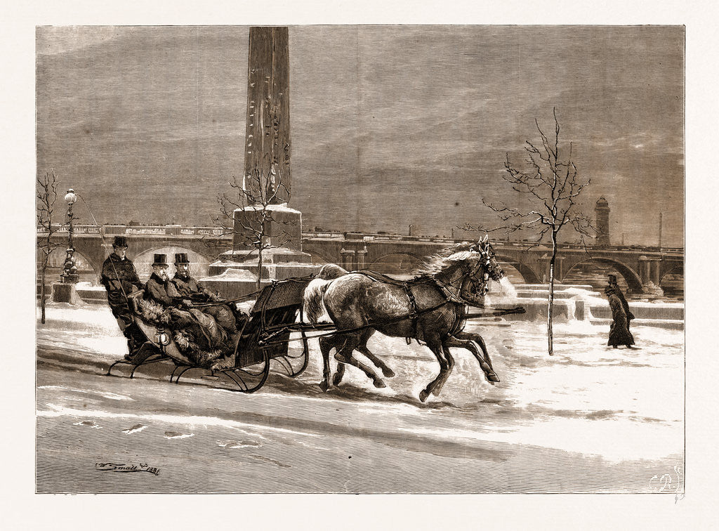 The Late Frost: The Prince Of Wales Sleighing On The Thames Embankment, UK