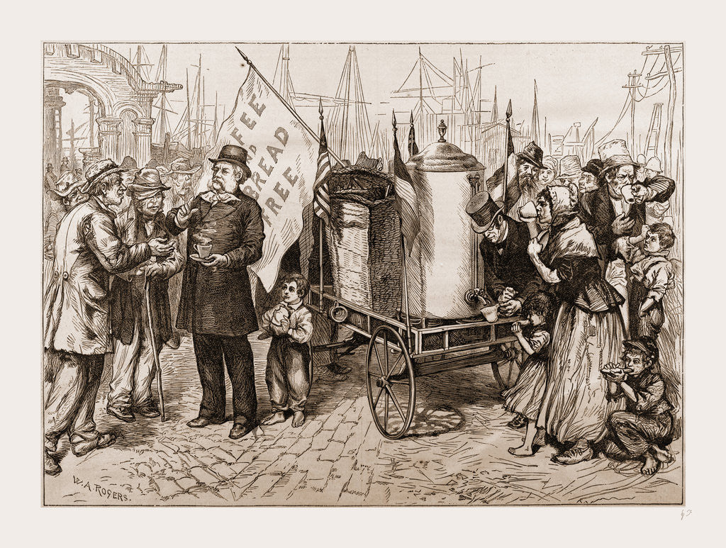 Detail of Dr. Kennion's Street Coffee-urn Cart-a Good Temperance Movement by W.A. Rogers