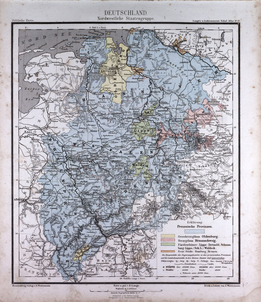 Germany, antique map 1869