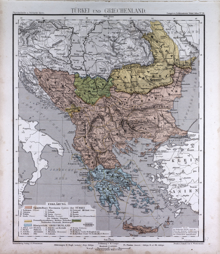 Turkey and Greece, antique map 1869