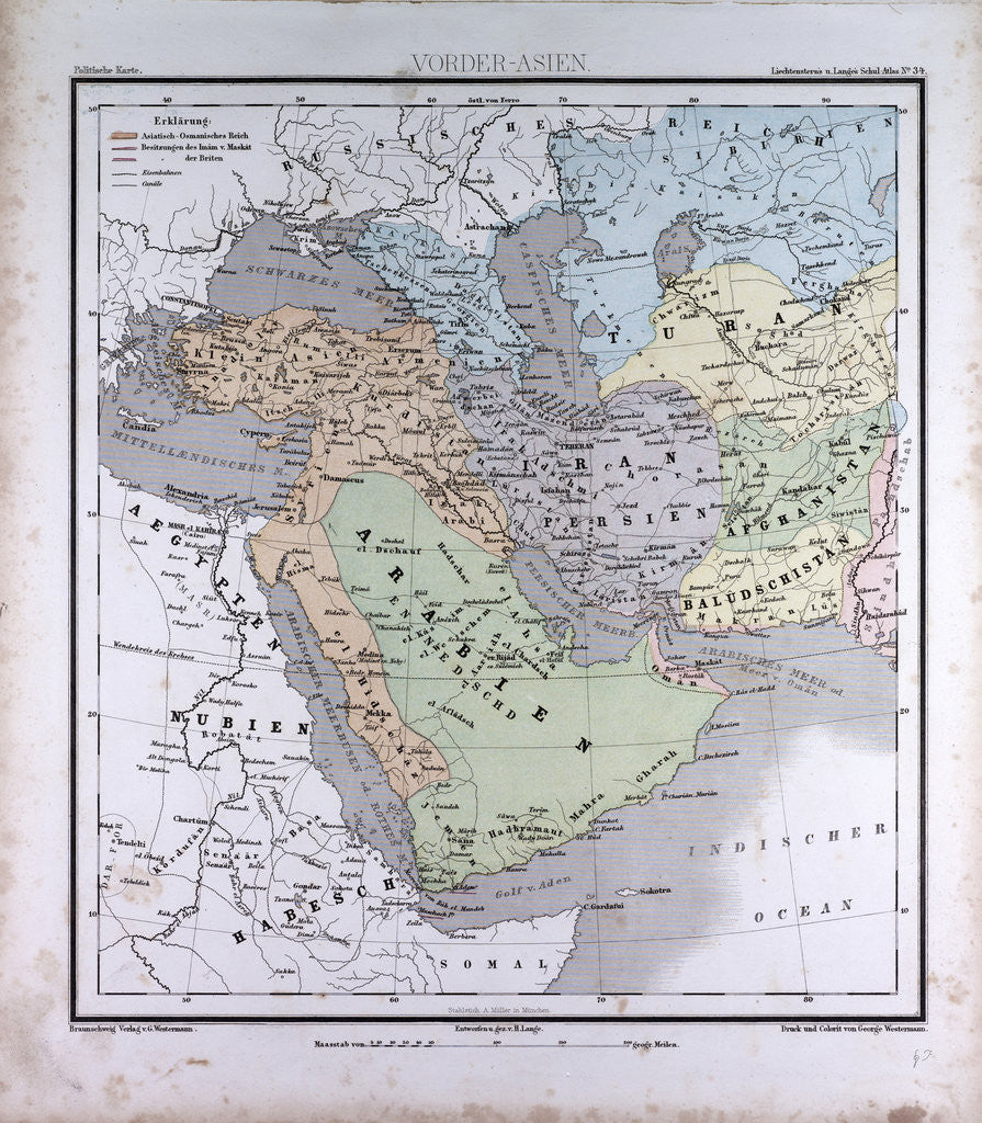 Western Asia or West Asia, antique map 1869