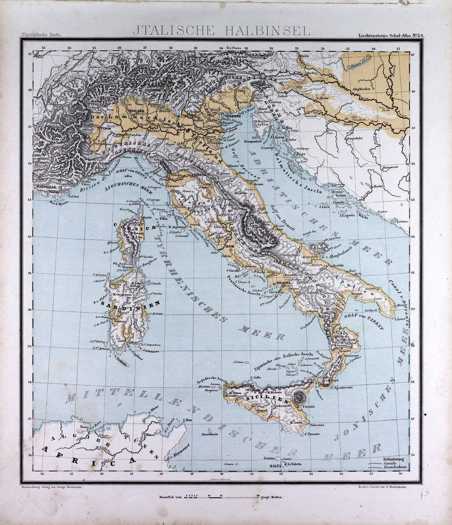 Italy, antique map 1869