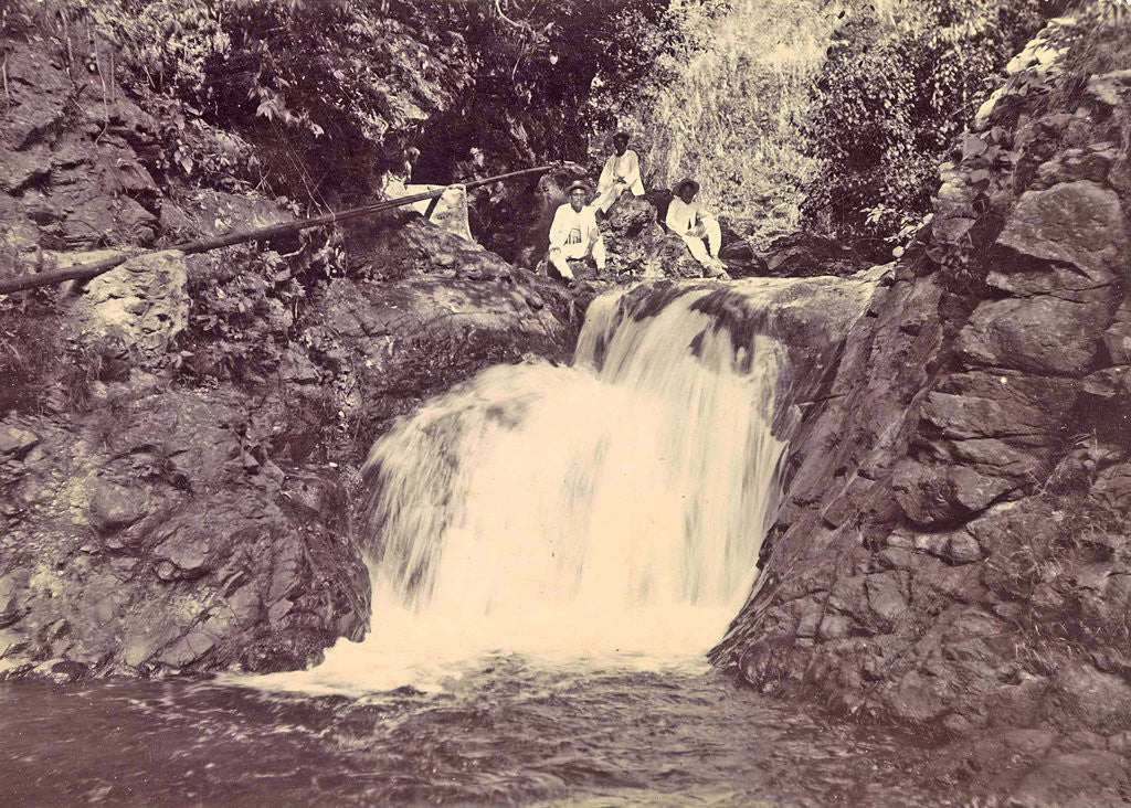 Detail of Indian men at a waterfall at Batu Gantong in Ambon by Anonymous