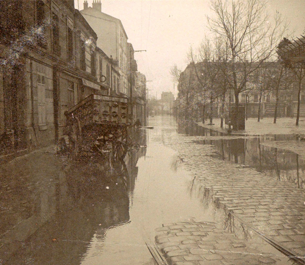 Detail of Kar in flooded street during flood Paris by France