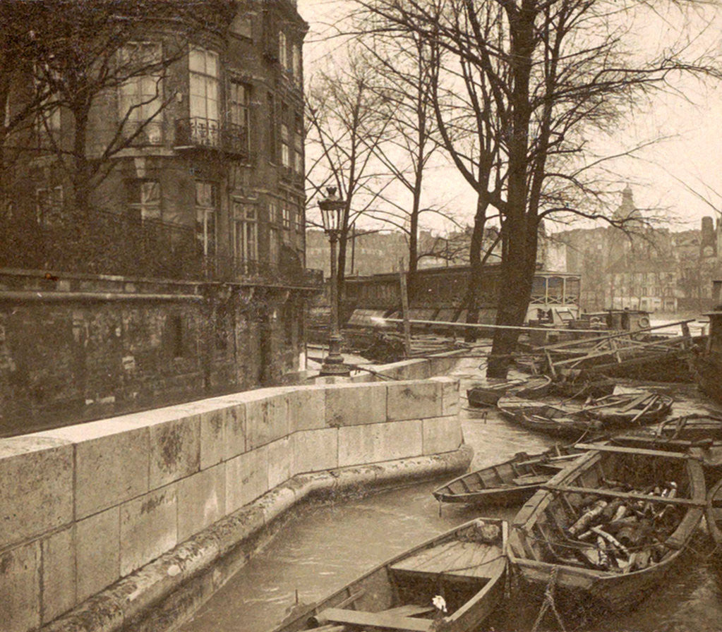 Detail of Boats along a quay during the flooding of Paris, France by Anonymous