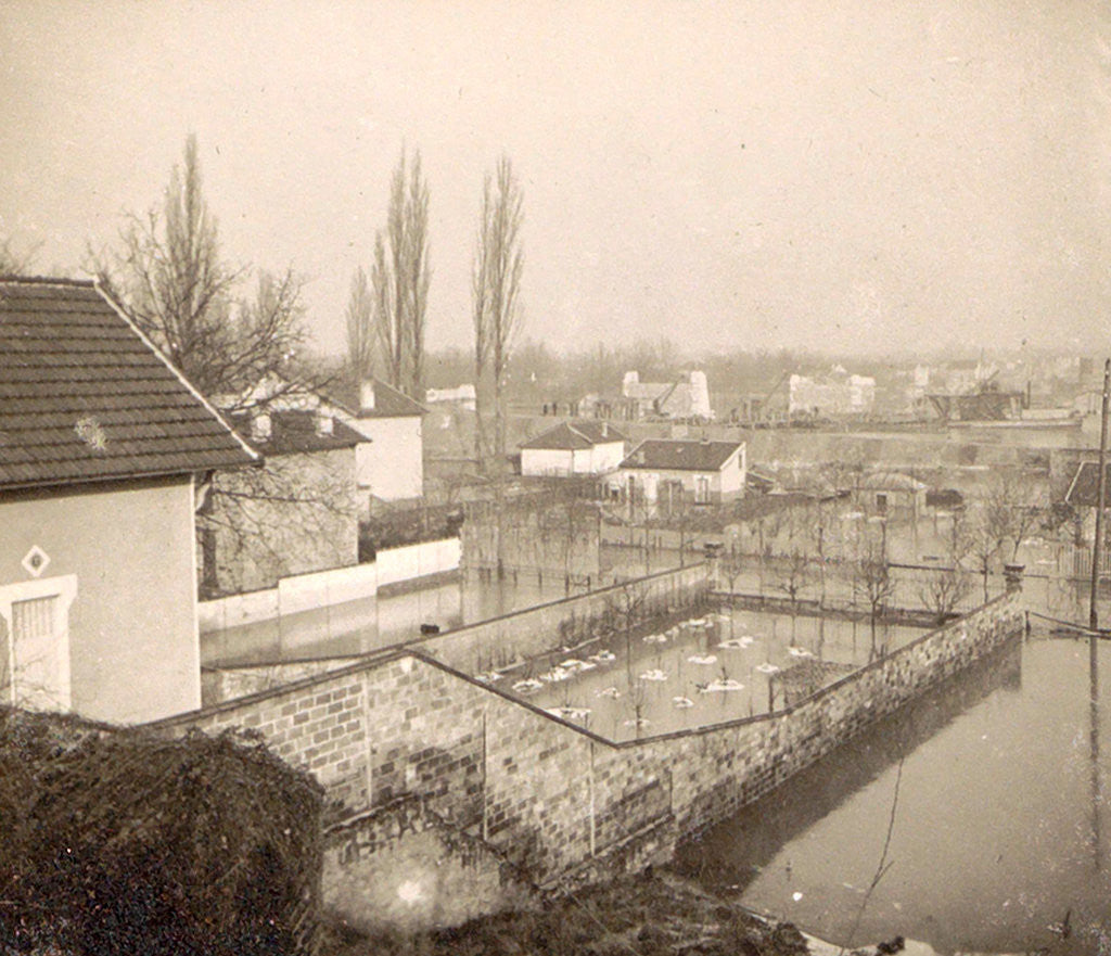 Detail of Houses and gardens in a flooded suburb of Paris, France by Anonymous
