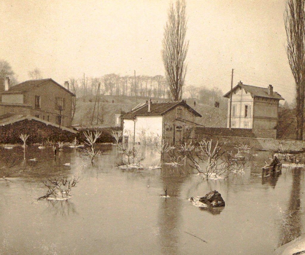 Detail of Houses on a flooded area in a suburb of Paris by France