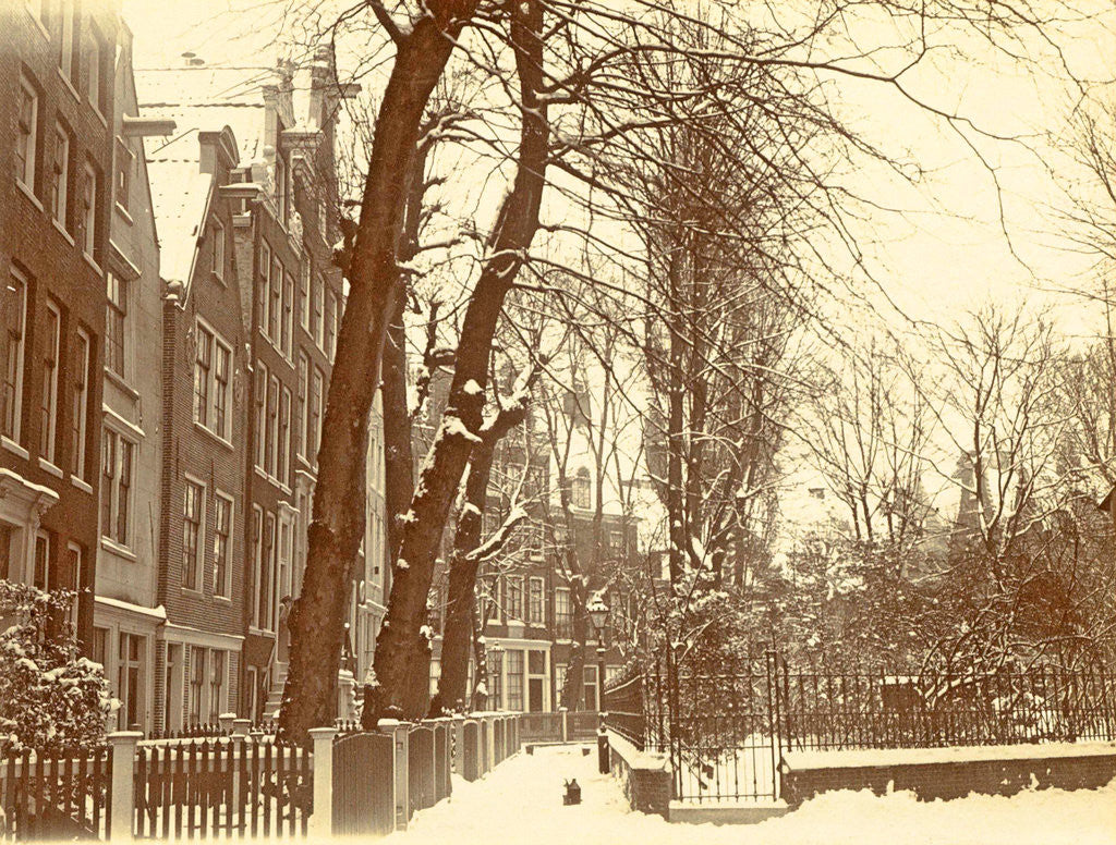 Detail of Houses in the Begijnhof in Amsterdam in the snow by Anonymous