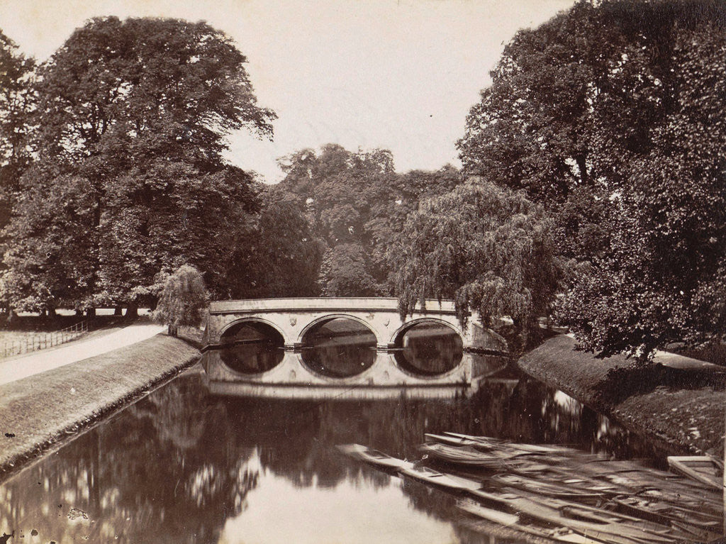 Detail of Bridge at Trinity College, Cambridge, in the foreground rowboats by Anonymous