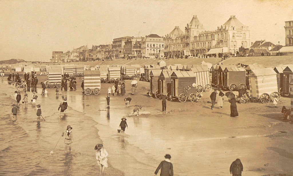 Detail of Bathers and bathing carriages on the beach of Blankenberge, Belgium by Anonymous