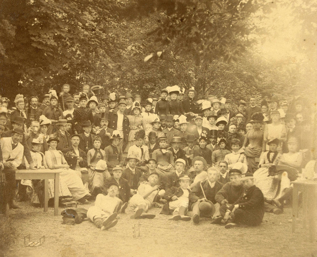 Detail of Group portrait of young people in a forest during a group outing by Anonymous