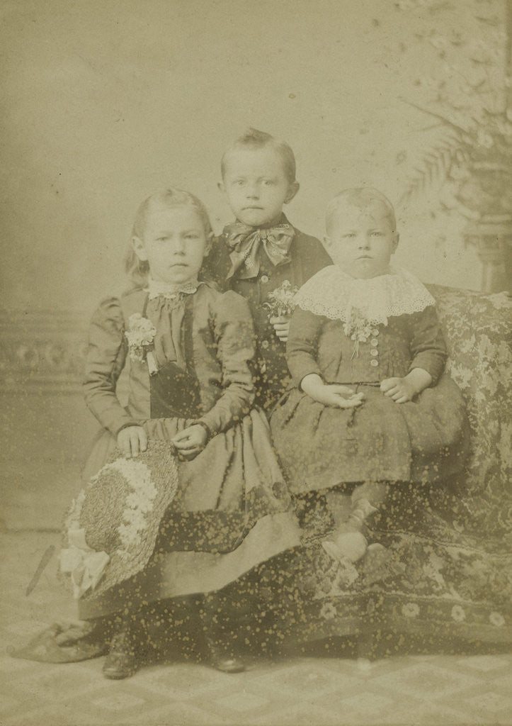 Detail of Group portrait of three children in studio by A.M. Burgess