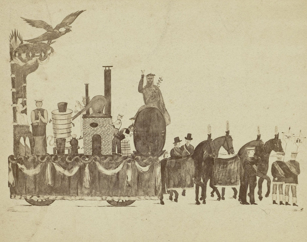 Detail of drawing a cart with horses by Anonymous