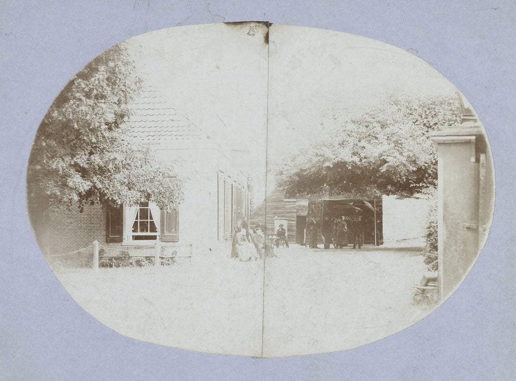 Detail of Family Portrait for a farm with barn by Anonymous