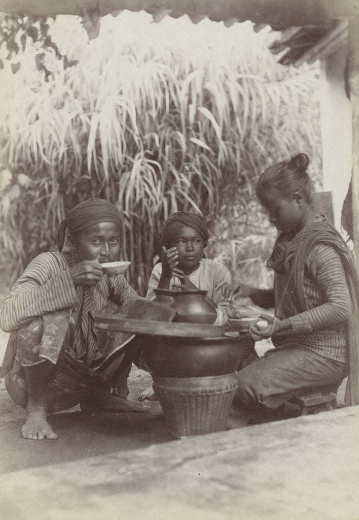 Detail of Coolies eat and drink crouching between the work, Indonesia by Anonymous