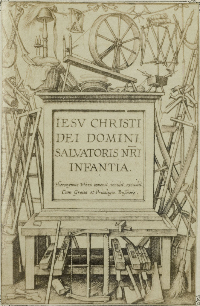 Detail of Engraving IESV CHRISTI DEI DOMINIANNI, Salvatoris NRA Infantia by Edmond Fierlants