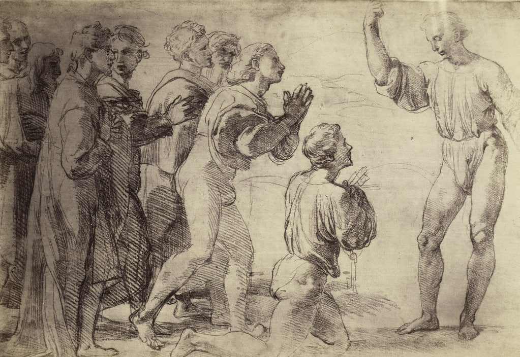 Detail of Drawing Raphael from Windsor Castle, study of adoring men by Charles Thurston Thompson