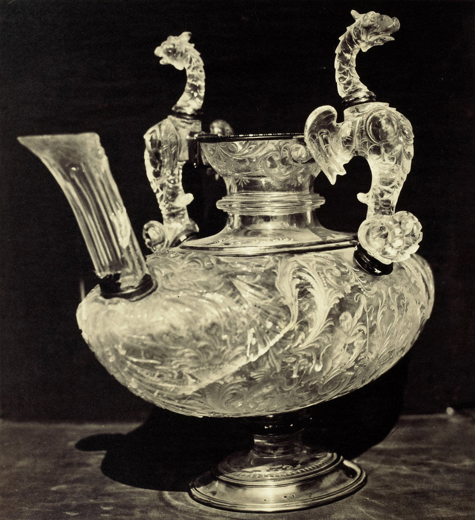 Detail of crystal decanter engraved with animal handles, from the Louvre by Charles Thurston Thompson