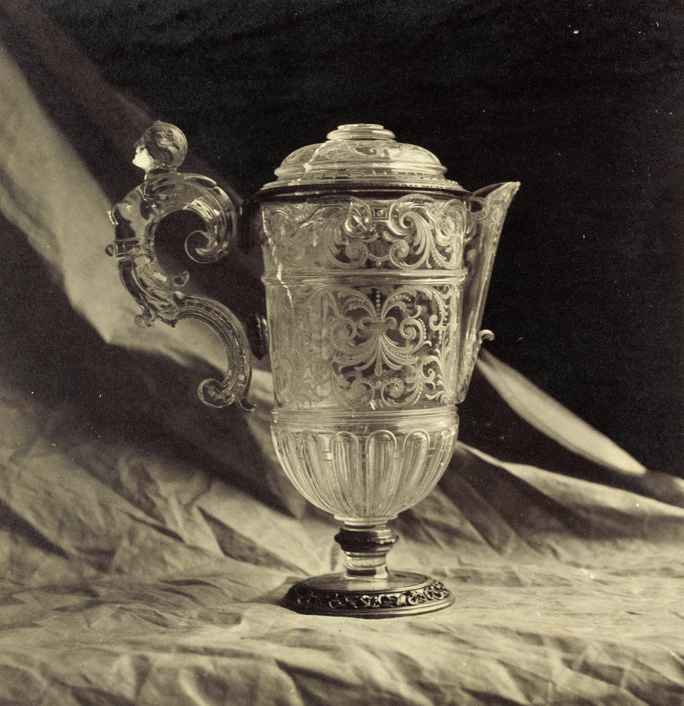 Detail of crystal decanter engraved with feminine handle, from the Louvre by Charles Thurston Thompson