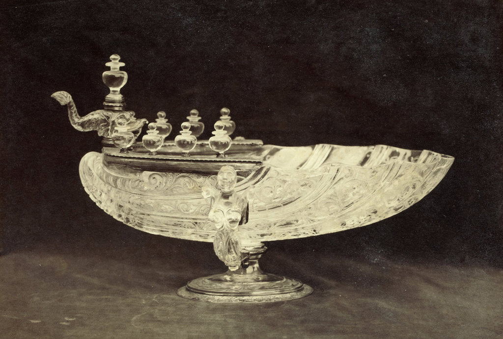 Detail of Crystal engraved shell shaped bowl from the Louvre by Charles Thurston Thompson
