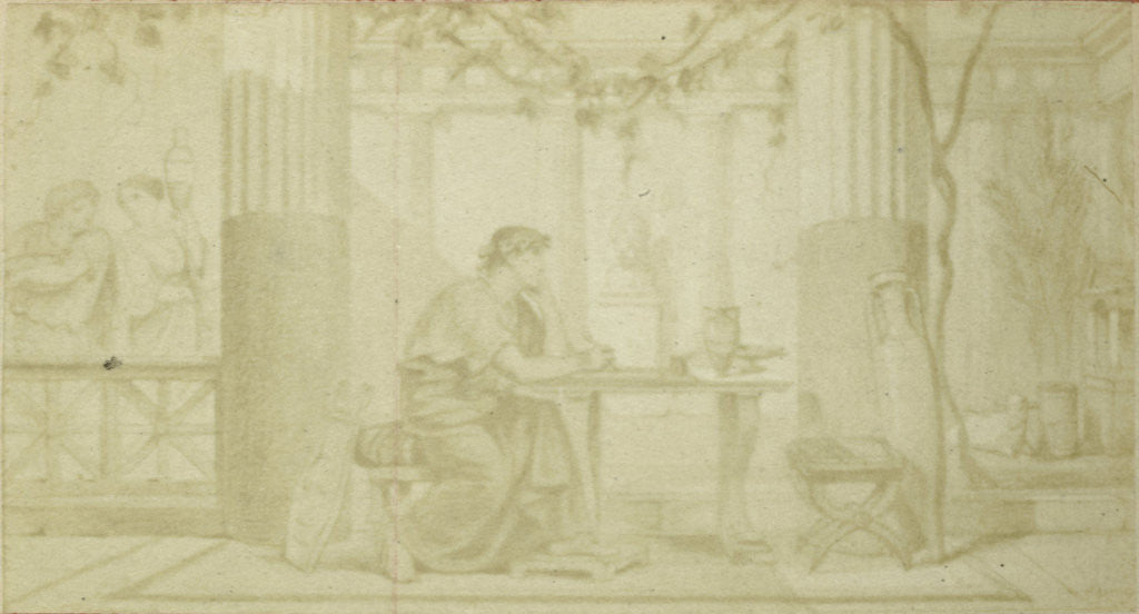 Detail of Illustrate Quinti Horatii Flacci Carminum, sitting at table in atrium with winch and amphora by Anonymous