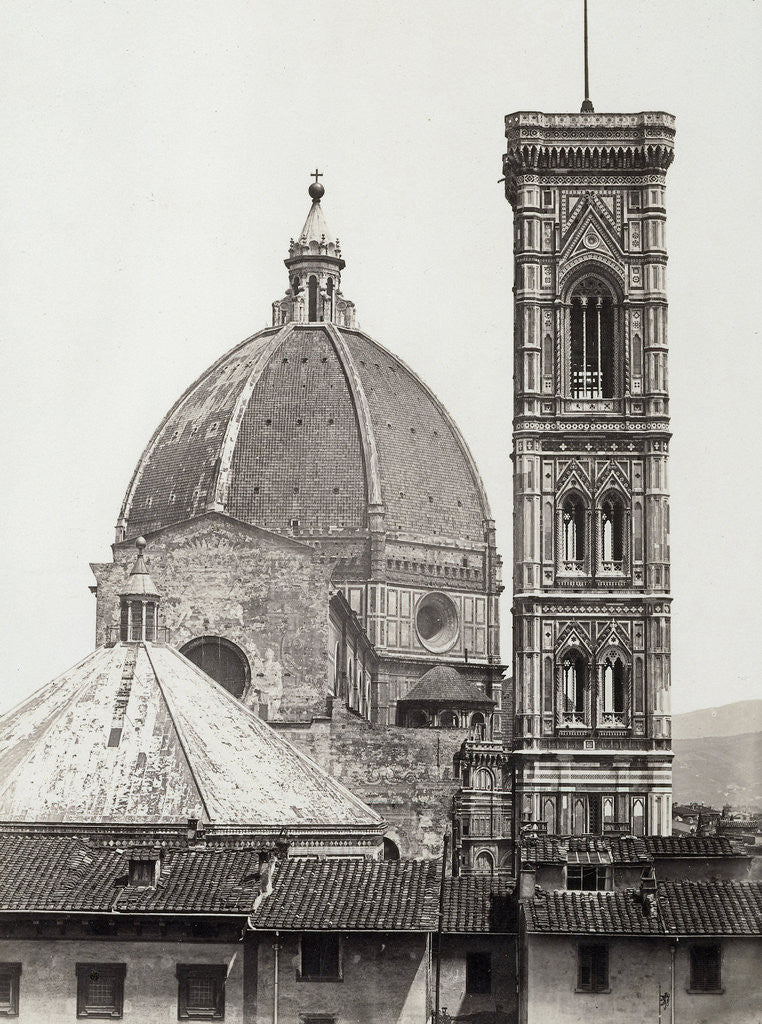 Detail of dome and campanile of the Duomo in Florence Italy, c. 1855 by Anonymous