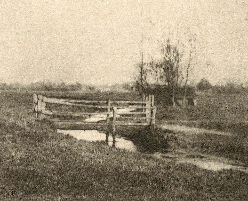 Detail of Landscape with bridge (Where Winds the Dyke) by Peter Henry Emerson
