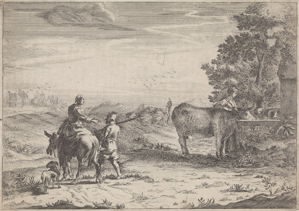 Detail of Landscape with Woman and a cow by Adriaen Oudendijck