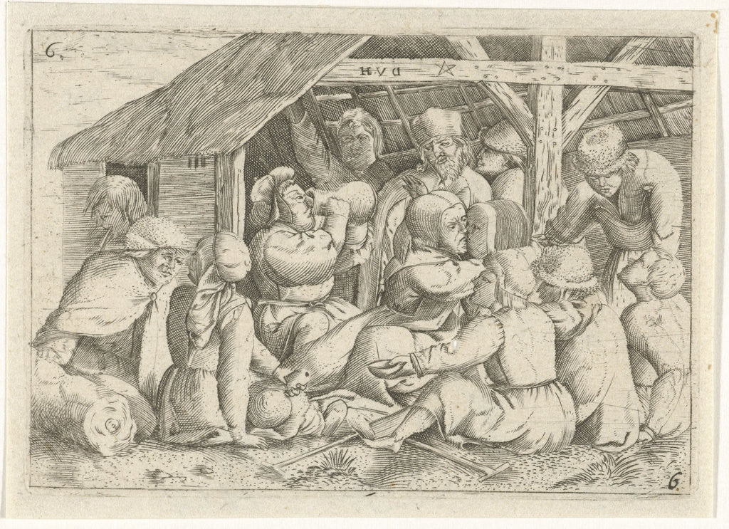 Detail of Beggars with a meal in a hut by Cornelis Massijs