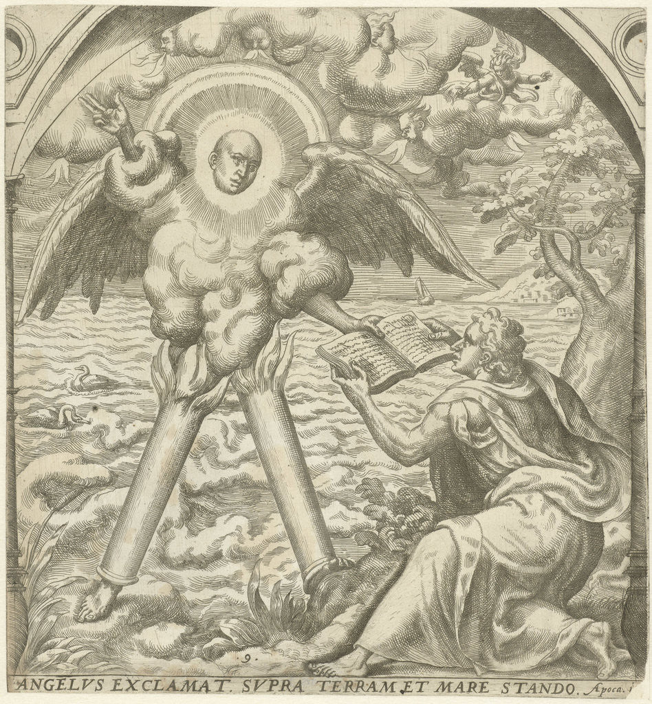John receives the sacred writings of an angel by Gerard P. Groenning