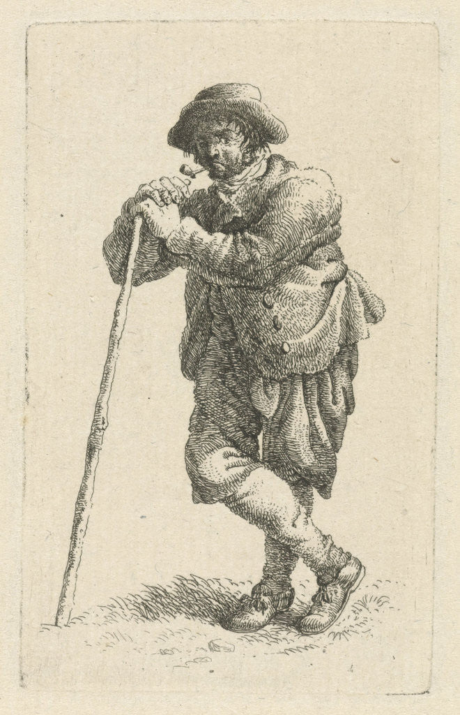 Detail of Smoking man leaning on a walking stick by François Joseph Pfeiffer II