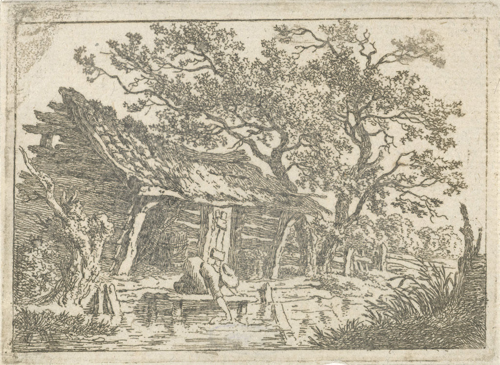 Detail of Landscape with a barn by François Joseph Pfeiffer II