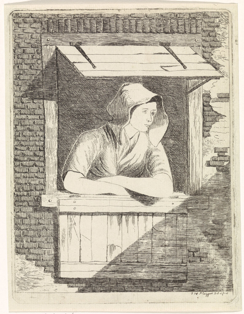 Detail of A woman with a hood on the head leaning out a window with horizontal blinds by J.H. Pluygers